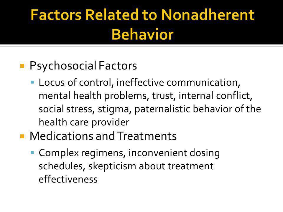  Psychosocial Factors  Locus of control, ineffective communication, mental health problems, trust, internal conflict, social stress, stigma, paterna