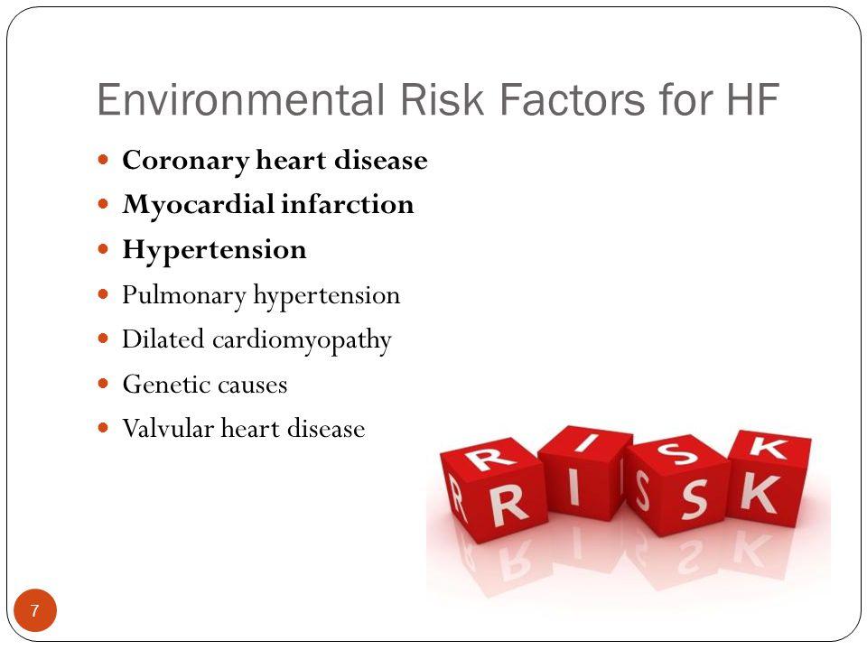 Environmental Risk Factors for HF Coronary heart disease Myocardial infarction Hypertension Pulmonary hypertension Dilated cardiomyopathy Genetic caus