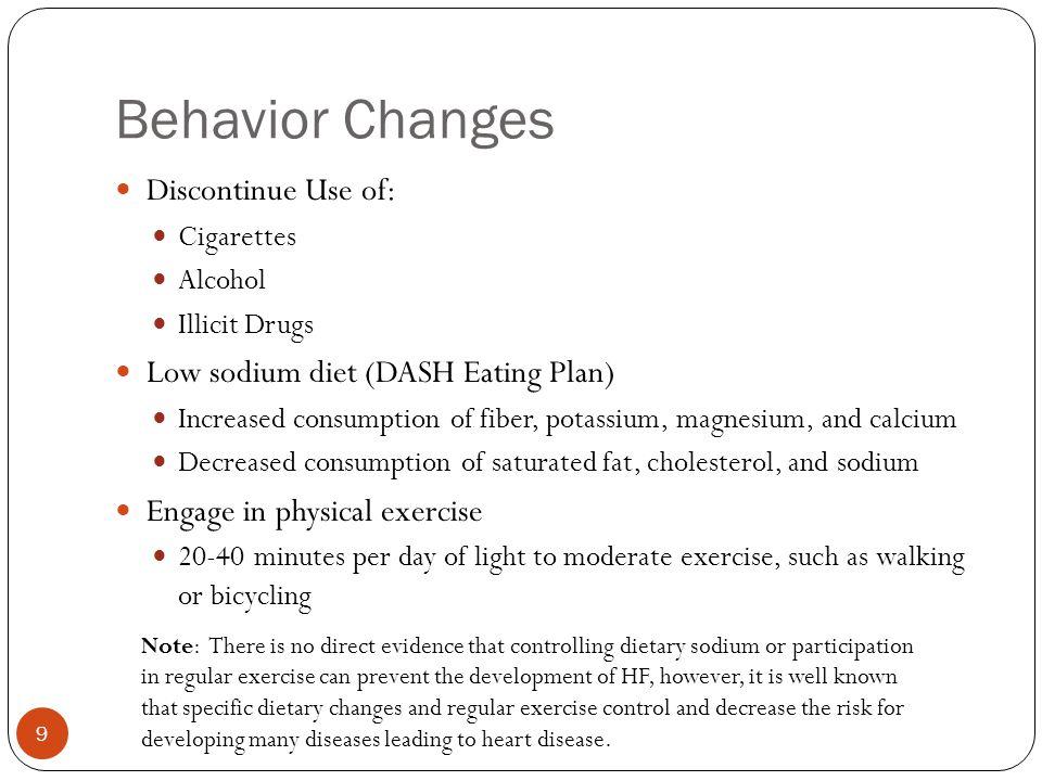 Behavior Changes Discontinue Use of: Cigarettes Alcohol Illicit Drugs Low sodium diet (DASH Eating Plan) Increased consumption of fiber, potassium, ma