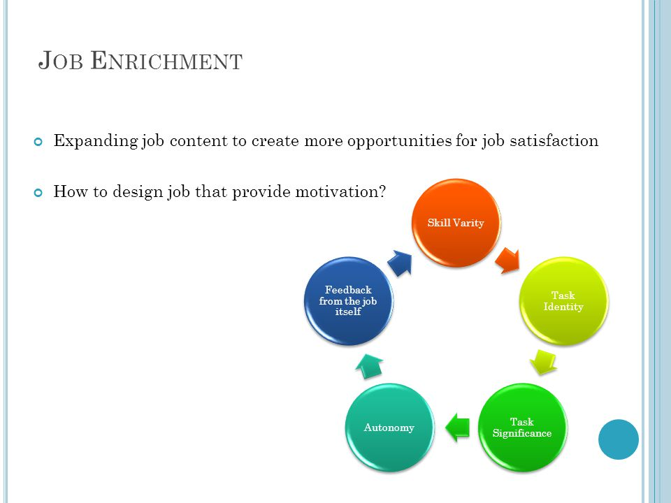 J OB E NRICHMENT Expanding job content to create more opportunities for job satisfaction How to design job that provide motivation.