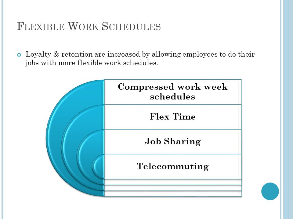 F LEXIBLE W ORK S CHEDULES Loyalty & retention are increased by allowing employees to do their jobs with more flexible work schedules.