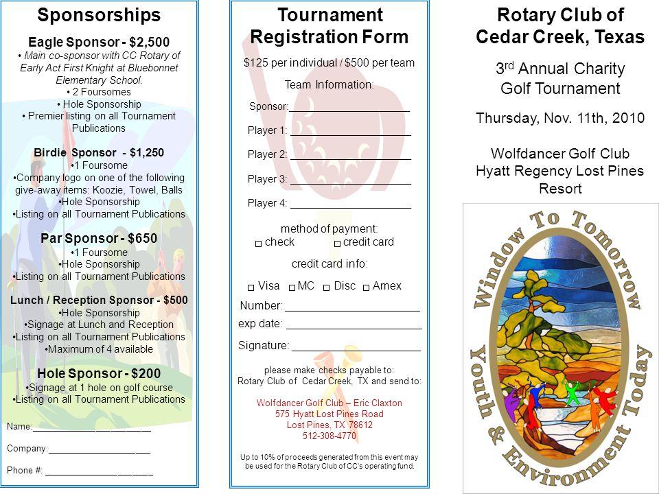Rotary Club of Cedar Creek, Texas 3 rd Annual Charity Golf Tournament Thursday, Nov.