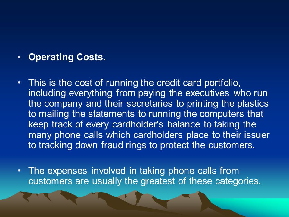 Operating Costs. This is the cost of running the credit card portfolio, including everything from paying the executives who run the company and their