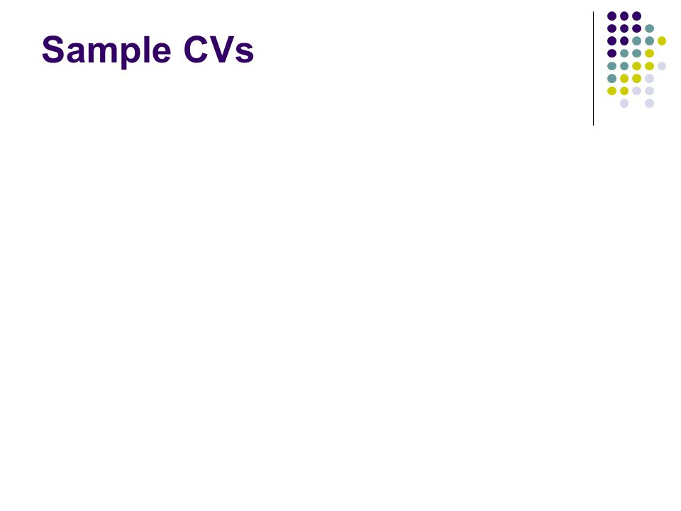 Sample CVs
