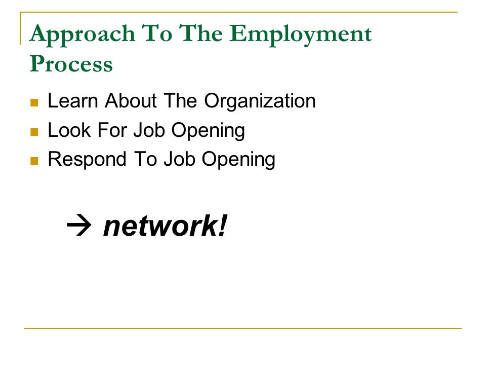 Approach To The Employment Process Learn About The Organization Look For Job Opening Respond To Job Opening  network!