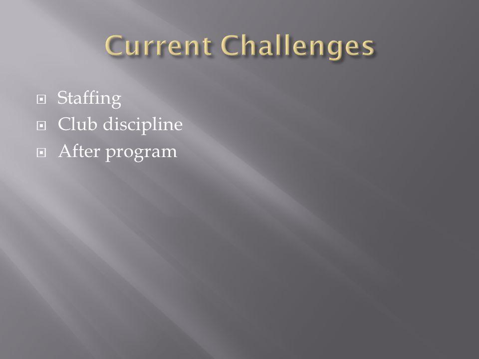  Staffing  Club discipline  After program