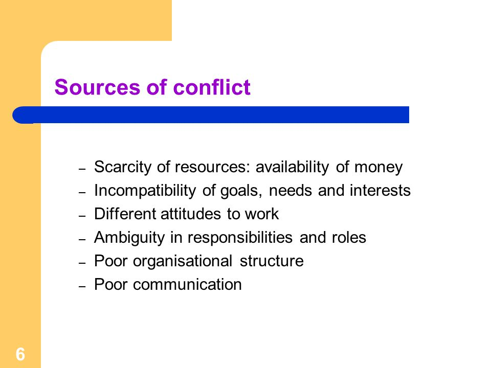 6 Sources of conflict – Scarcity of resources: availability of money – Incompatibility of goals, needs and interests – Different attitudes to work – Ambiguity in responsibilities and roles – Poor organisational structure – Poor communication