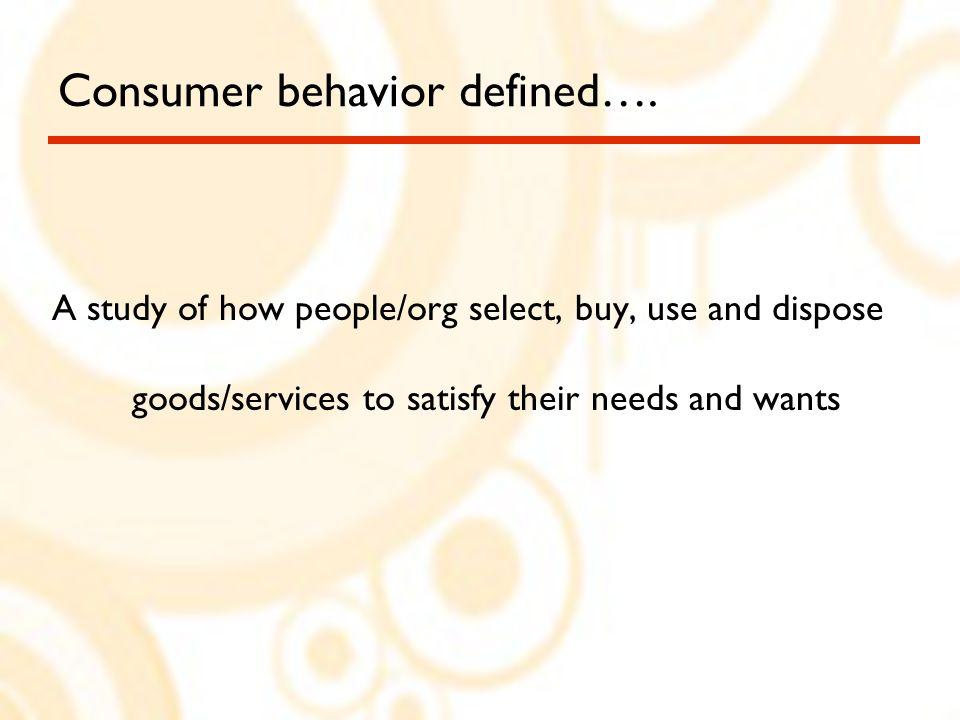 Consumer behavior defined….