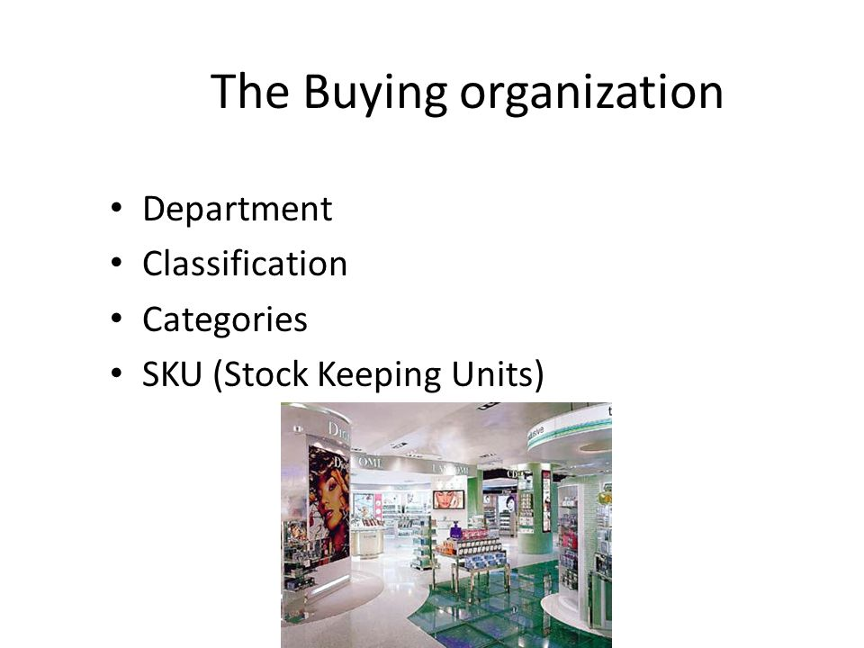 The Buying organization Department Classification Categories SKU (Stock Keeping Units)