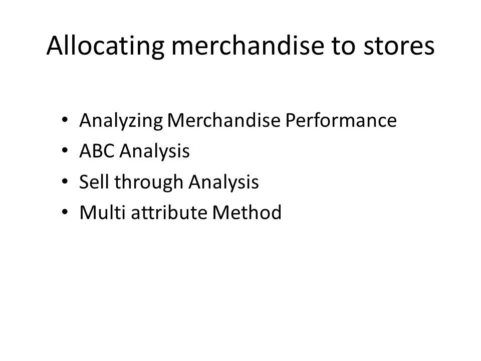 Allocating merchandise to stores Analyzing Merchandise Performance ABC Analysis Sell through Analysis Multi attribute Method