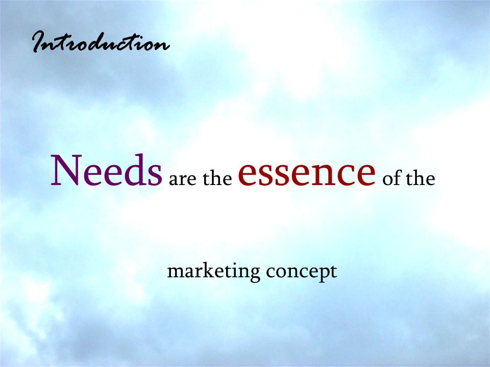 Introduction Needs are the essence of the marketing concept