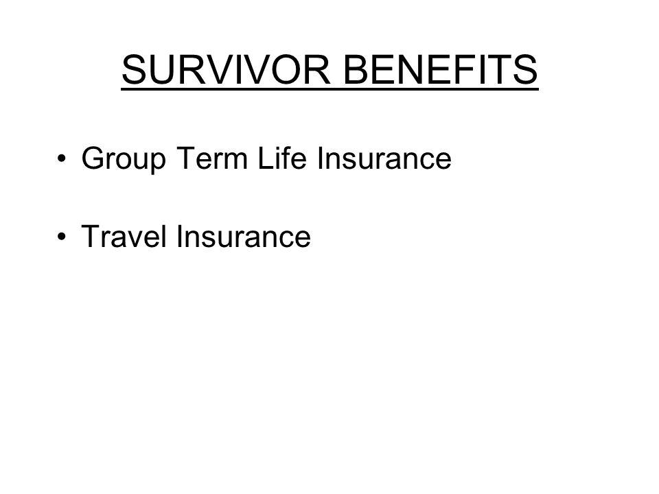 SURVIVOR BENEFITS Group Term Life Insurance Travel Insurance