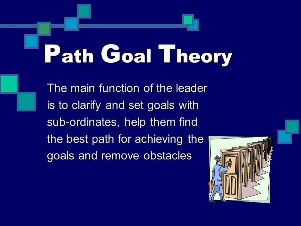 P ath G oal T heory The main function of the leader is to clarify and set goals with sub-ordinates, help them find the best path for achieving the goa