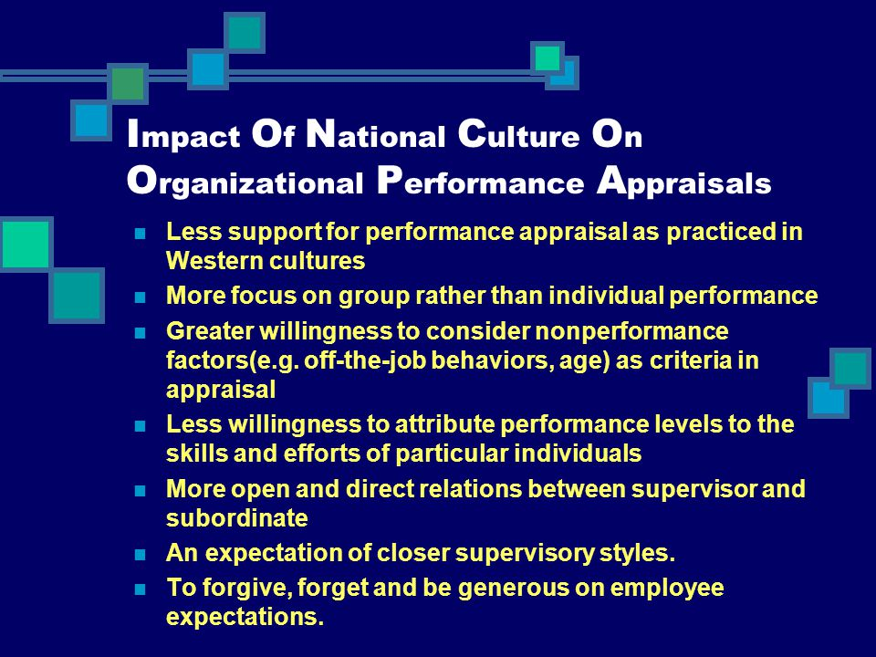 I mpact O f N ational C ulture O n O rganizational P erformance A ppraisals Less support for performance appraisal as practiced in Western cultures Mo