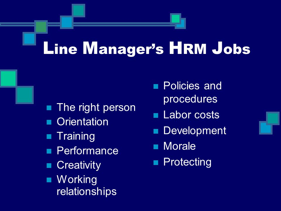L ine M anager's H RM J obs The right person Orientation Training Performance Creativity Working relationships Policies and procedures Labor costs Dev