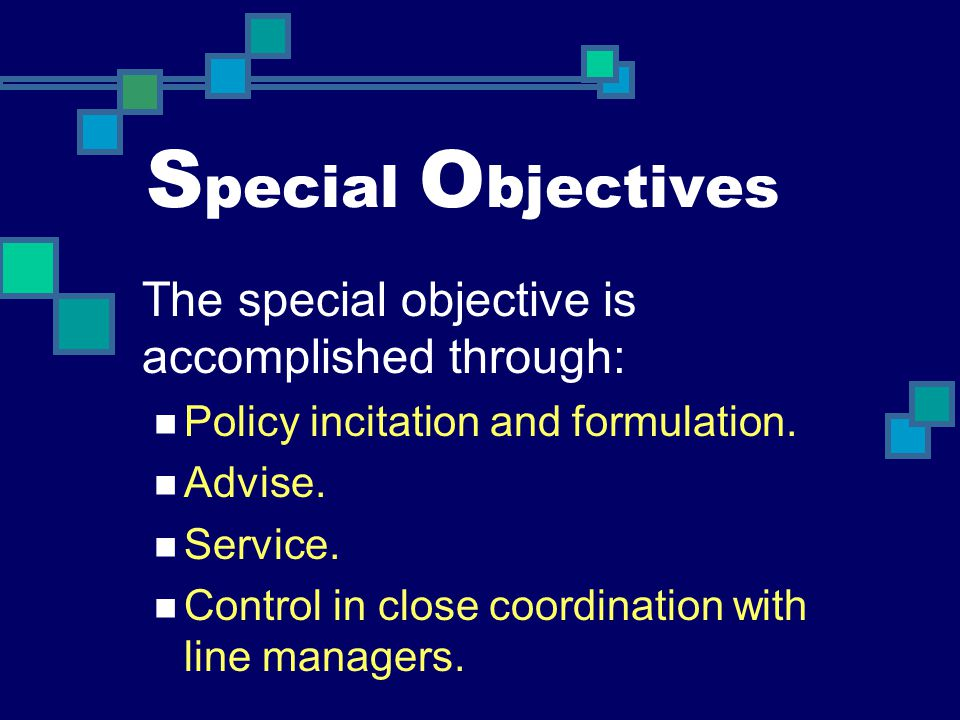 S pecial O bjectives The special objective is accomplished through: Policy incitation and formulation. Advise. Service. Control in close coordination