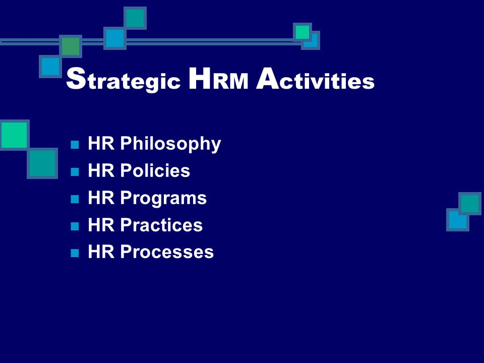 S trategic H RM A ctivities HR Philosophy HR Policies HR Programs HR Practices HR Processes