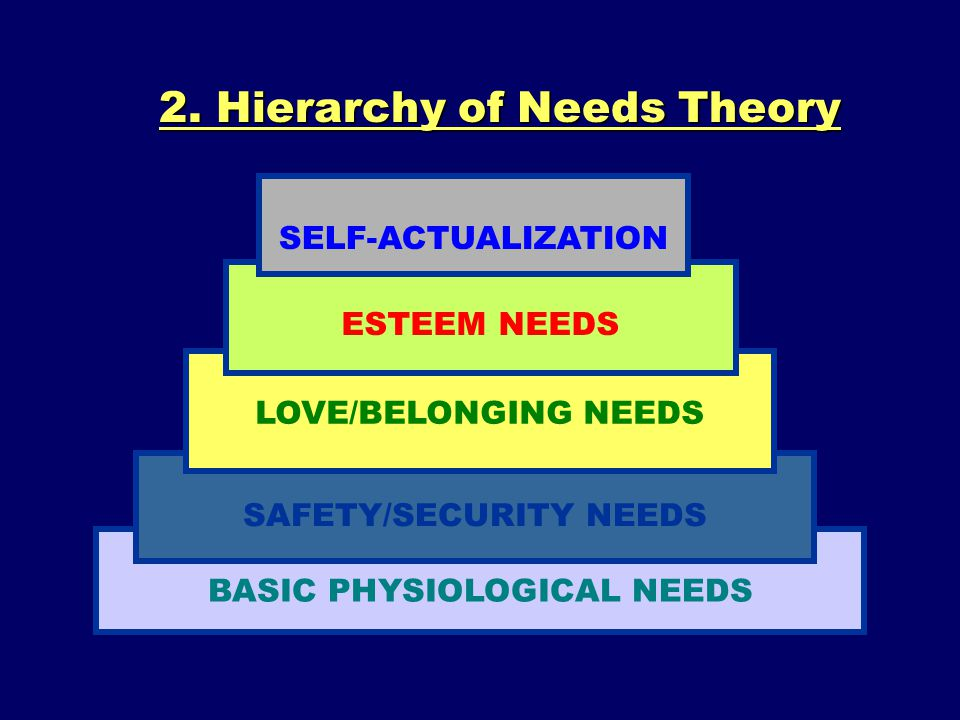 2. Hierarchy of Needs Theory BASIC PHYSIOLOGICAL NEEDS SAFETY/SECURITY NEEDS LOVE/BELONGING NEEDS ESTEEM NEEDS SELF-ACTUALIZATION
