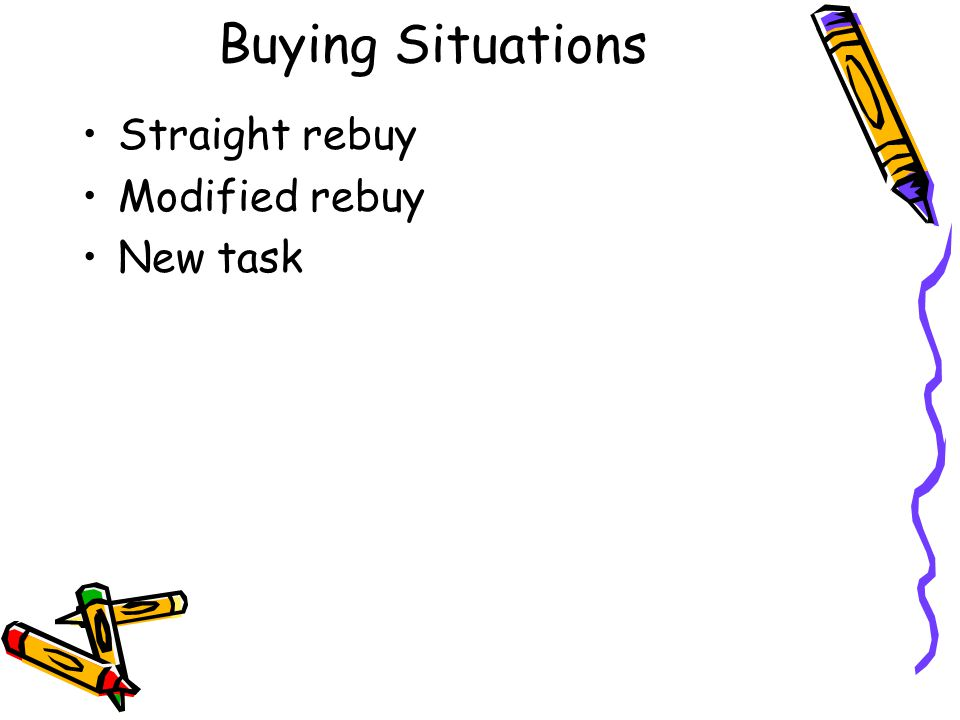 Buying Situations Straight rebuy Modified rebuy New task