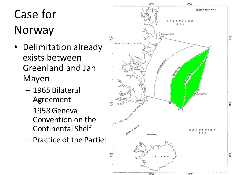 Court 1965 agreement contains no provision for the delimitation of the position of the median specifically between Greenland and Jan Mayen the boundary refers to one boundary, that of the Denmark and Skagerrak Geneva convention – shelf rights asserted by both Parties