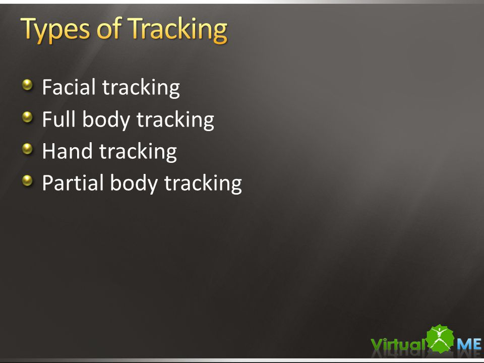 Facial tracking Full body tracking Hand tracking Partial body tracking
