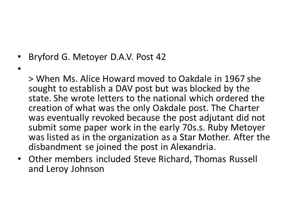 Bryford G.Metoyer D.A.V. Post 42 > When Ms.