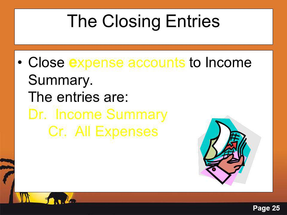 Page 25 The Closing Entries Close e xpense accounts to Income Summary. The entries are: Dr. Income Summary Cr. All Expenses