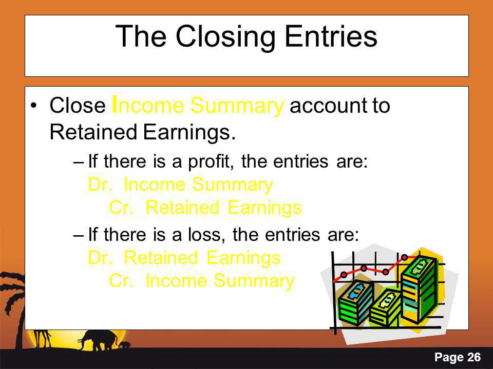 Page 26 The Closing Entries Close I ncome Summary account to Retained Earnings.