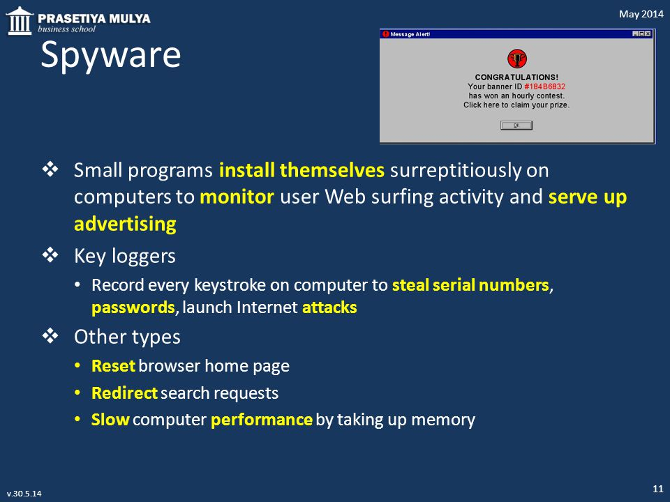 Spyware  Small programs install themselves surreptitiously on computers to monitor user Web surfing activity and serve up advertising  Key loggers R