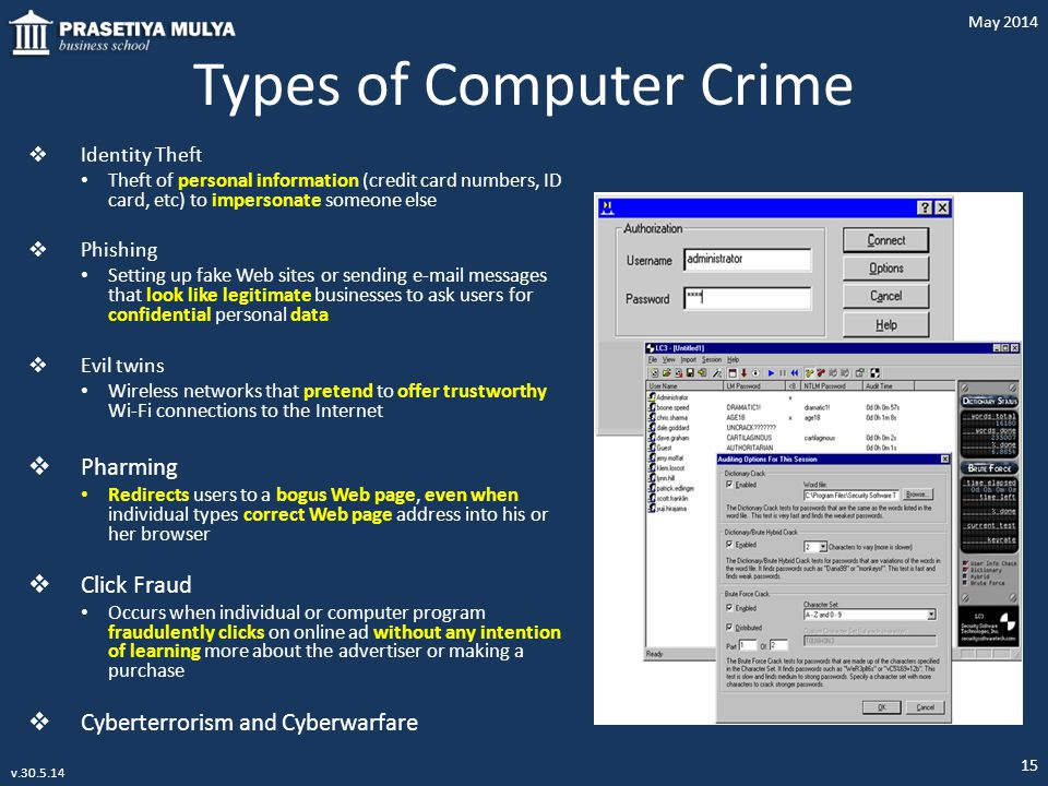 Types of Computer Crime  Identity Theft Theft of personal information (credit card numbers, ID card, etc) to impersonate someone else  Phishing Sett