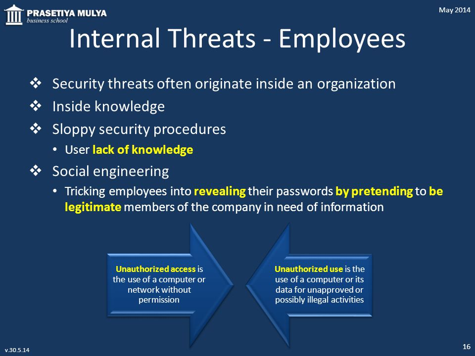 Internal Threats - Employees  Security threats often originate inside an organization  Inside knowledge  Sloppy security procedures User lack of kn