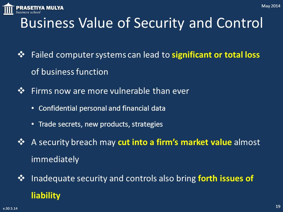 Business Value of Security and Control  Failed computer systems can lead to significant or total loss of business function  Firms now are more vulne