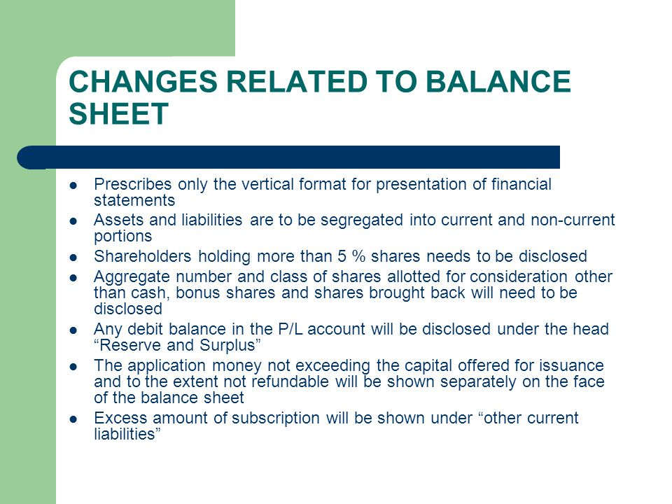 CHANGES RELATED TO BALANCE SHEET Prescribes only the vertical format for presentation of financial statements Assets and liabilities are to be segregated into current and non-current portions Shareholders holding more than 5 % shares needs to be disclosed Aggregate number and class of shares allotted for consideration other than cash, bonus shares and shares brought back will need to be disclosed Any debit balance in the P/L account will be disclosed under the head Reserve and Surplus The application money not exceeding the capital offered for issuance and to the extent not refundable will be shown separately on the face of the balance sheet Excess amount of subscription will be shown under other current liabilities