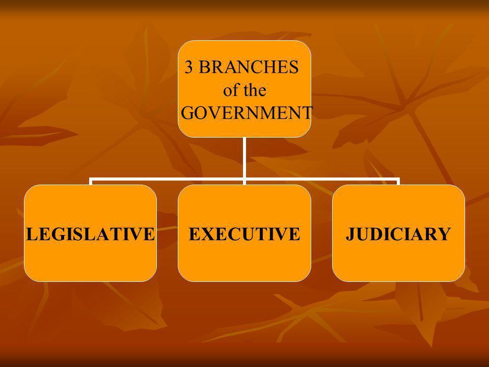 3 BRANCHES of the GOVERNMENT LEGISLATIVEEXECUTIVEJUDICIARY