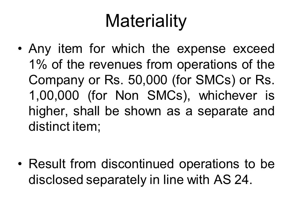 Materiality Any item for which the expense exceed 1% of the revenues from operations of the Company or Rs.