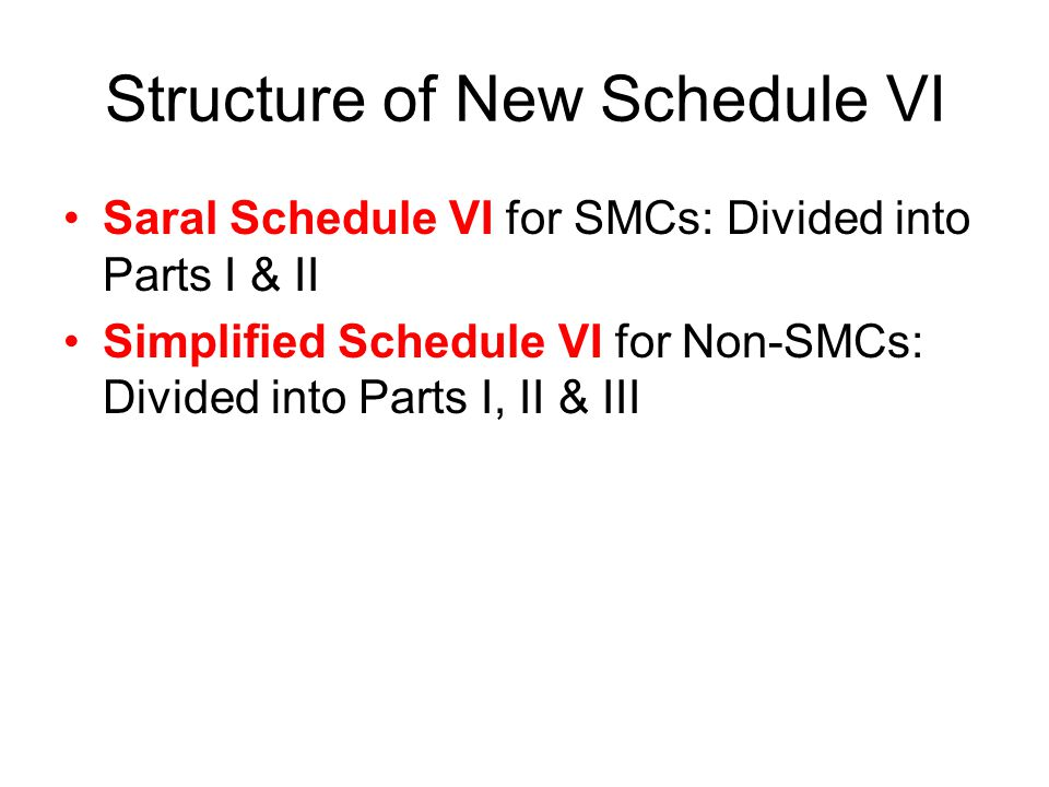 Structure of New Schedule VI Saral Schedule VI for SMCs: Divided into Parts I & II Simplified Schedule VI for Non-SMCs: Divided into Parts I, II & III