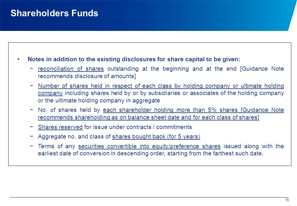 Shareholders Funds Notes in addition to the existing disclosures for share capital to be given: −reconciliation of shares outstanding at the beginning and at the end [Guidance Note recommends disclosure of amounts] −Number of shares held in respect of each class by holding company or ultimate holding company including shares held by or by subsidiaries or associates of the holding company or the ultimate holding company in aggregate −No.