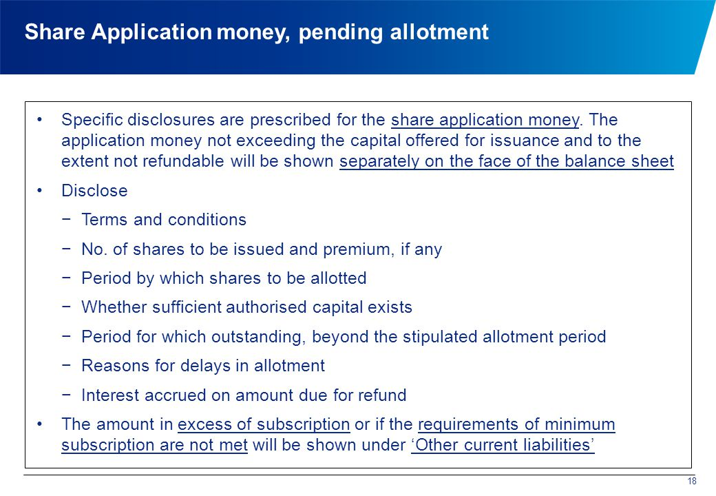 Specific disclosures are prescribed for the share application money.