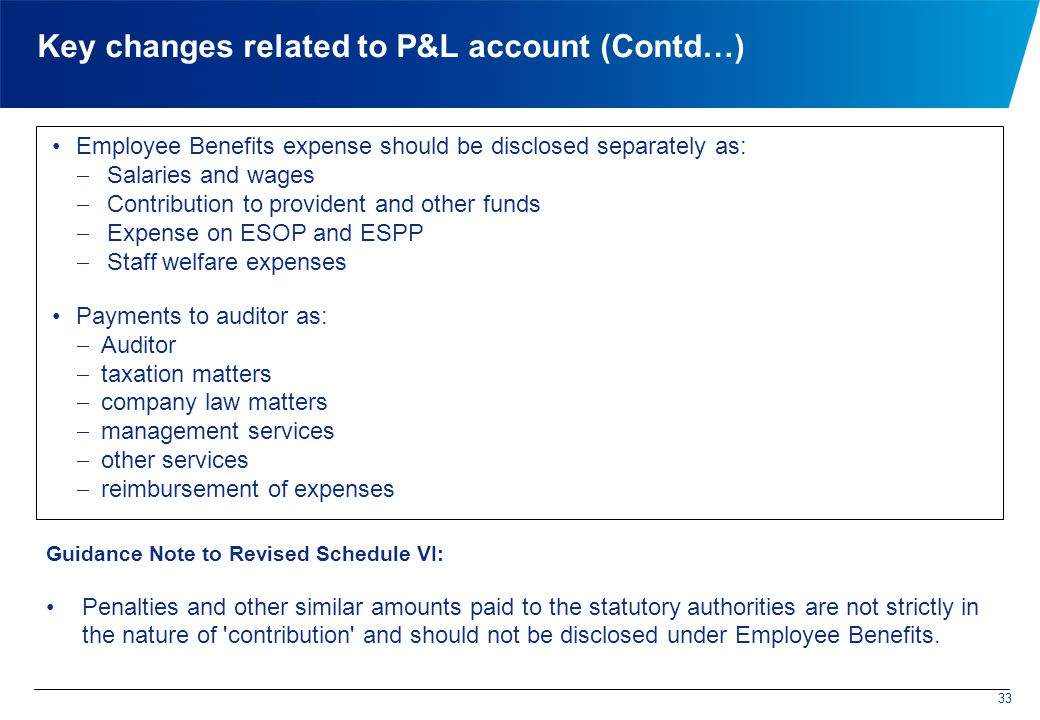 Key changes related to P&L account (Contd…) Employee Benefits expense should be disclosed separately as:  Salaries and wages  Contribution to provident and other funds  Expense on ESOP and ESPP  Staff welfare expenses Payments to auditor as:  Auditor  taxation matters  company law matters  management services  other services  reimbursement of expenses 33 Guidance Note to Revised Schedule VI: Penalties and other similar amounts paid to the statutory authorities are not strictly in the nature of contribution and should not be disclosed under Employee Benefits.