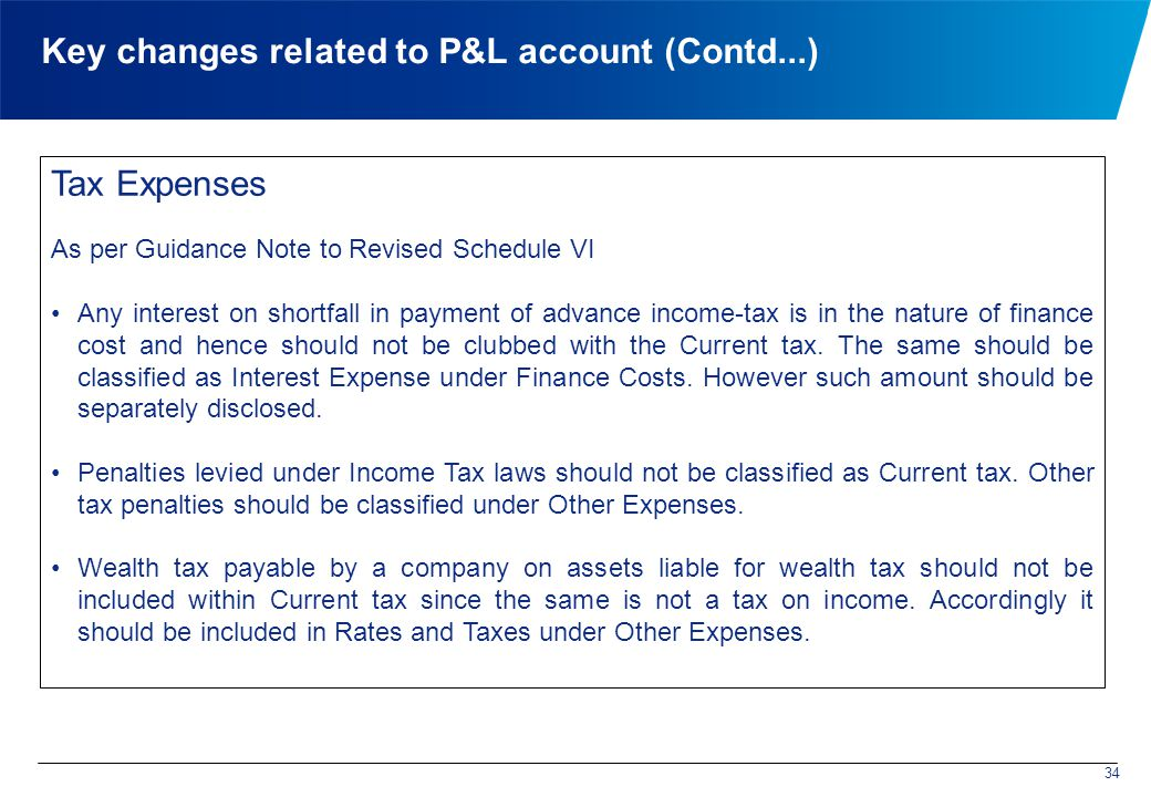 Key changes related to P&L account (Contd...) Tax Expenses As per Guidance Note to Revised Schedule VI Any interest on shortfall in payment of advance income-tax is in the nature of finance cost and hence should not be clubbed with the Current tax.