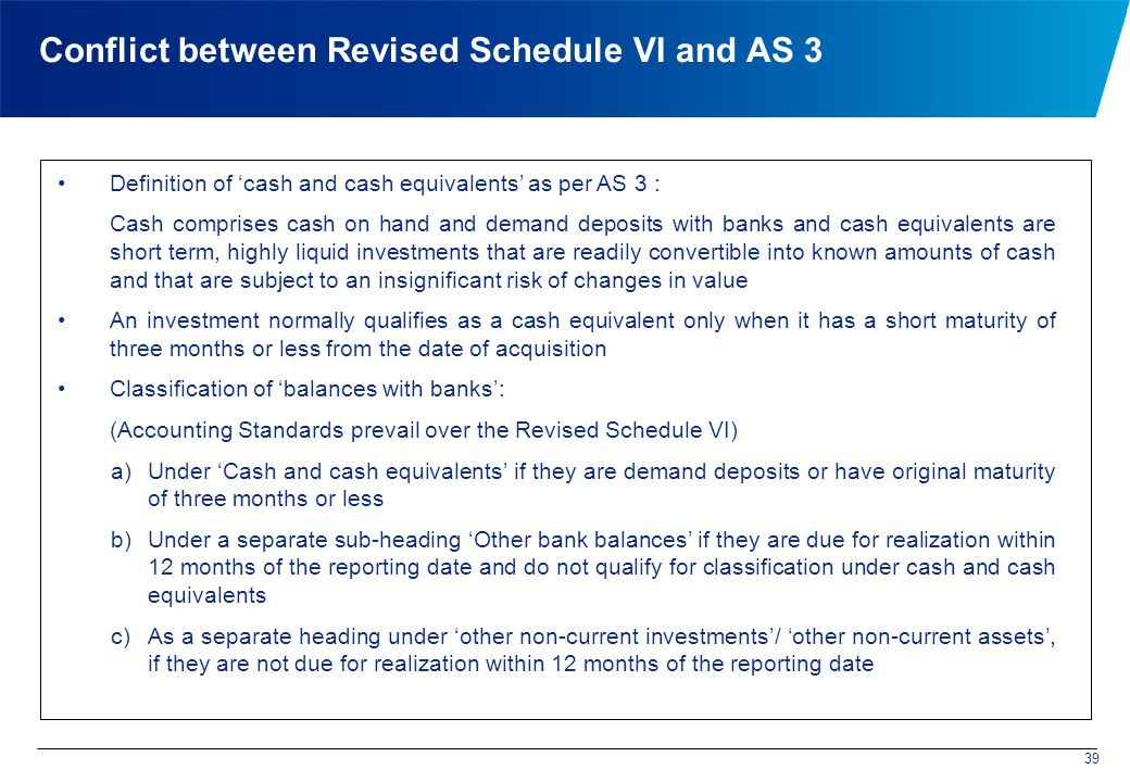Conflict between Revised Schedule VI and AS 3 Definition of 'cash and cash equivalents' as per AS 3 : Cash comprises cash on hand and demand deposits with banks and cash equivalents are short term, highly liquid investments that are readily convertible into known amounts of cash and that are subject to an insignificant risk of changes in value An investment normally qualifies as a cash equivalent only when it has a short maturity of three months or less from the date of acquisition Classification of 'balances with banks': (Accounting Standards prevail over the Revised Schedule VI) a)Under 'Cash and cash equivalents' if they are demand deposits or have original maturity of three months or less b)Under a separate sub-heading 'Other bank balances' if they are due for realization within 12 months of the reporting date and do not qualify for classification under cash and cash equivalents c)As a separate heading under 'other non-current investments'/ 'other non-current assets', if they are not due for realization within 12 months of the reporting date 39