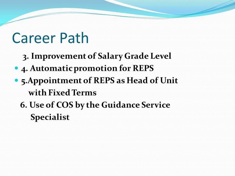 Career Path 3. Improvement of Salary Grade Level 4.