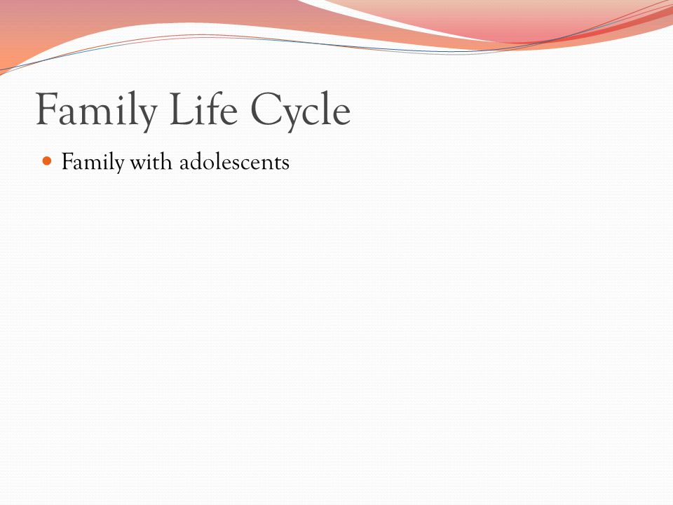 Family Life Cycle Family with adolescents