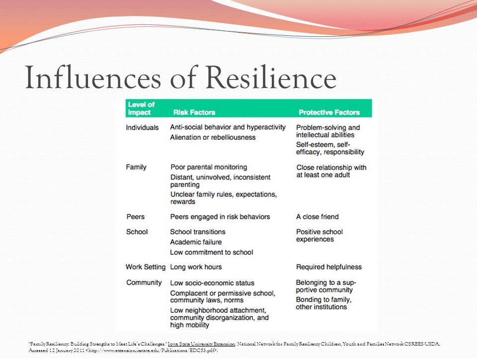 Influences of Resilience Family Resiliency: Building Strengths to Meet Life's Challenges. Iowa State University Extension.