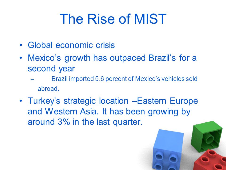 The Rise of MIST Global economic crisis Mexico's growth has outpaced Brazil's for a second year – Brazil imported 5.6 percent of Mexico's vehicles sold abroad.