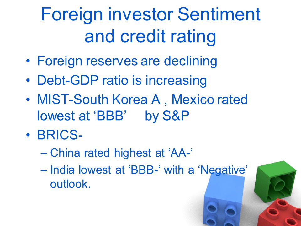 Foreign investor Sentiment and credit rating Foreign reserves are declining Debt-GDP ratio is increasing MIST-South Korea A, Mexico rated lowest at 'BBB' by S&P BRICS- –China rated highest at 'AA-' –India lowest at 'BBB-' with a 'Negative' outlook.