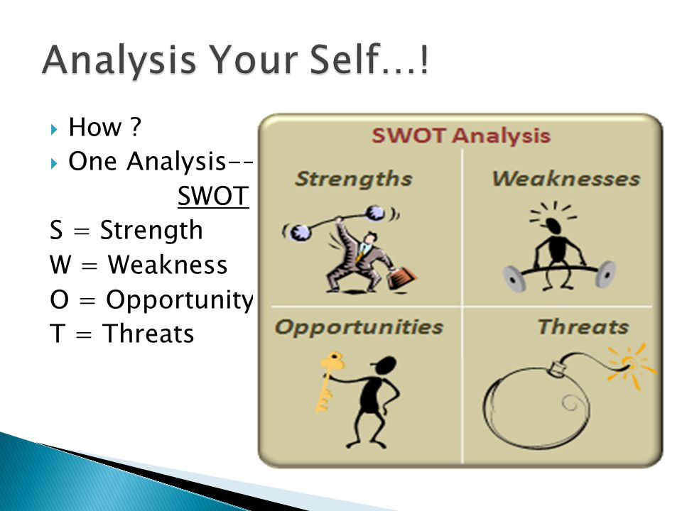  How ?  One Analysis--- SWOT S = Strength W = Weakness O = Opportunity T = Threats