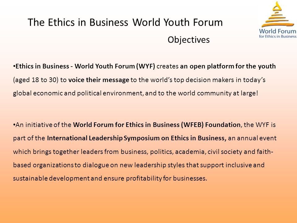 THE PILLARS OF WYF Align the global sustainable development objectives with the personal development of the youth.