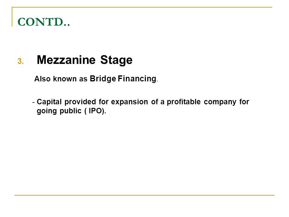 CONTD..3. Mezzanine Stage Also known as Bridge Financing.