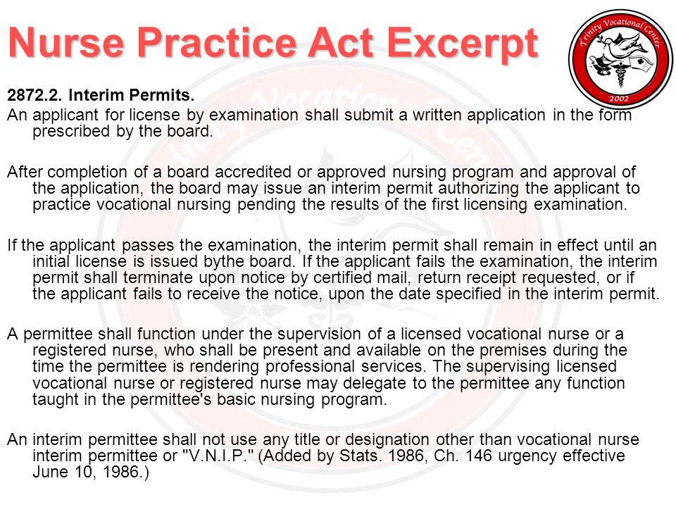 Nurse Practice Act Excerpt 2872.2. Interim Permits.